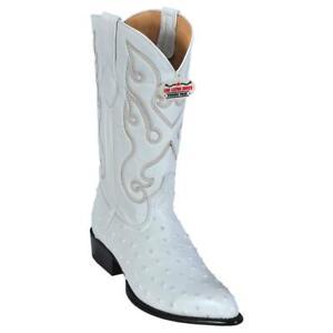 Men's Los Altos Ostrich Print Leather Cowboy Western Boots J Toe