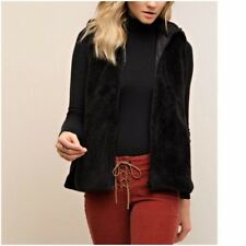 S Small Vest Fleece Faux Fur Black Fuzzy Zip Front Plush Sleeveless Jacket NEW