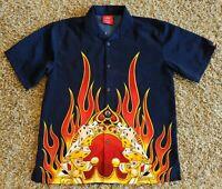 Vintage JNCO Button Down Shirt Medium 8 Ball Flames Dice Spade 90s Cards Crown