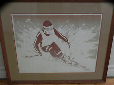 """W Woodward 70's Signed Numbered Embossed Serigraph """"The Winner"""" Downhill Skier"""