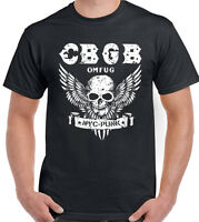 CBGB The Home Of Punk OMFUG Mens T-Shirt Underground NYC Club Skull Wings Biker