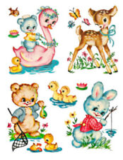 Vintage Image Retro Nursery Baby Animals Transfers Decals An583 Large or Small