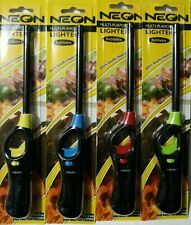 3 Neon Long Refillable Butane Gas Lighter For Grill Colors May Vary