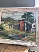 "VINTAGE 1950's PBN Barn Stream Paint By Number 20"" X 16"" With Frame MCM"