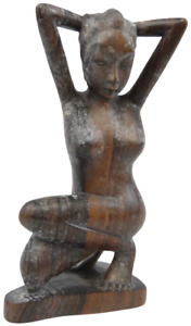 Vintage wood carved Asian? sculpture life model of nude woman posing small 8.5in