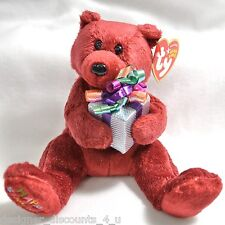 Ty BEANIE BABIES BABY Happy Birthday Red Bear Holding Gift Stuffed animal MINT