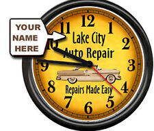 Personalized Auto Repair Mechanic Tool Shop Advertising Retro Sign Wall Clock