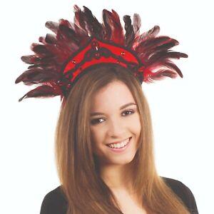 Black/Red Feather Carnival Headdress Fancy Dress Head Piece NEW