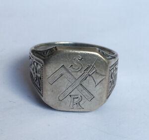 Antiker Siegelring Axt Winkel Monogramm SR graviert 900 Silber 8 g 20 mm