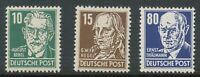 DDR 1952 10 Pfg. Bebel, 15 Pfg. Hegel, 80 Pfg. Thälmann schwarzblau postfrisch