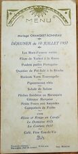 MENU - French 1937 Wedding w/Wine: La Domaine 1935/La Couture 1933