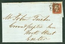 SG 8 1d red-brown lettered R.F. A very fine used 4 margin example on cover...