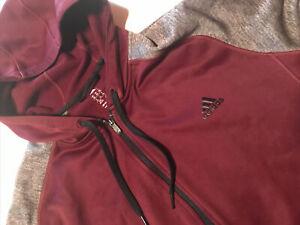 NWOT Adidas Full Zip Hoodie Sweatshirt Climawarm 2XL XXL Maroon Heather Gray