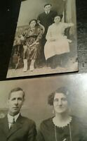 VINTAGE RPPC REAL FAMILY PHOTO POSTCARDS FAMILY COUPLE CHILDREN UNUSED SET OF 2
