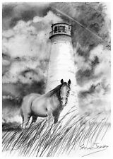 """Horse and Lighthouse  12""""x17""""   Print"""