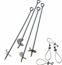 "4pc 30"" Earth Auger Anchor Kit w/ 4 Clamp-on all steel"
