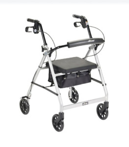 Drive Medical McKesson Rollator Folding Walker SILVER Adult 4 Wheels R726SL ~NEW
