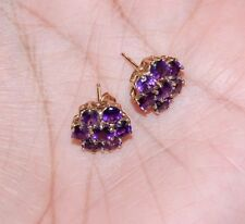 10K Solid Yellow Gold Flower Cluster Natural Purple Amethyst Earrings