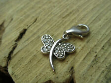 white metal and Cubic Zirconia butterfly charm