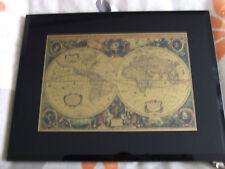 Historische Weltkarte im Glasrahmen mit 999,9 Gold Neu
