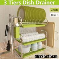 Kitchen Dish Cup Drying Rack Drainer Dryer Tray Cutlery Holder Organizer US T