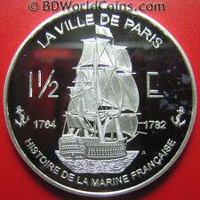 2004 SAINT MARTIN 1 1/2 EURO SILVER PROOF ESSAI VILLE DE PARIS NAVAL 90-GUN SHIP