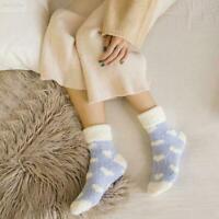 1Pair Ladies Fashion Fluffy Socks Warm Winter Bed Lounge Comfortable Floor K5N2