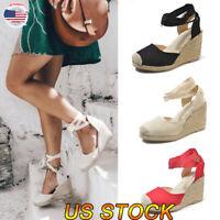 Women Sandals Summer Wedge Platform Heel Slingback Espadrilles Pumps Lady Shoes