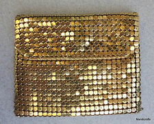 Change Coin Purse Wallet 3in Gold Mesh Snap Closure 1950s Taffeta Lined Vintage