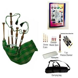 Great Scottish Irish Bagpipes Silver Amounts/Rosewood Brown Bagpipe
