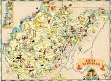 Canvas Reproduction, Vintage Pictorial Map of West Virginia Ruth Taylor 1935