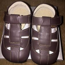 Baby Toddler Boys See Kai Run Brown Leather Patrick Sandals Shoes NEW Box