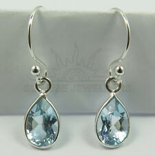 925 Solid Sterling Silver Natural BLUE TOPAZ Pear Gemstones Cute Drop Earrings