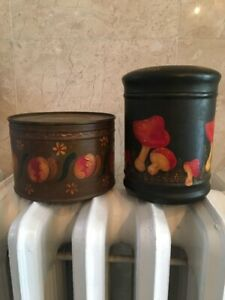 Pair of Vintage Tole Painting Folk Art Tin Containers Signed and Dated