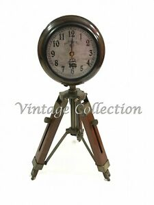 "5"" Handmade Wooden Tripod Table Clock Nautical Maritime Decorative Collectables"