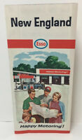 Vintage New England Esso Road Map Happy Motoring Gas Oil Advertising US USA