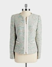 New-size 4-Tahari Arthur S. Levine-Womens Tweed Blazer Zip Front Metallic Green