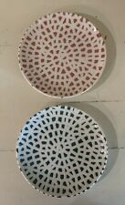 """Dudson Vitrified Pottery England Mosaic Green Coral Two Bread Plates 6.5"""""""