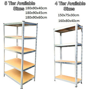 5/4 Tier Heavy Duty Metal Galvanised Shelving Rack Unit Garage Storage Shelf UK.