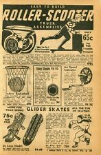 1940 small Print Ad of Roller-Scooter skateboard Glider Skates Dipsy Doodle YoYo