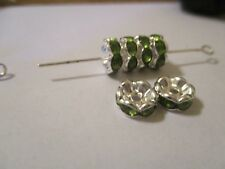 100 Silver Plated 8 mm Peridot Green Crystal    Spacer Beads E94