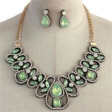 Statement Lt Green Lucite Opal Stone Rhine stone Bib Necklace earring Set