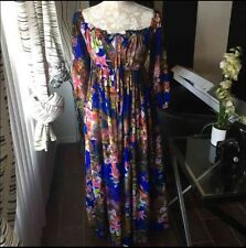 Stylewe Women's Off The Shoulder Blue Floral Maxi Dress Sz S