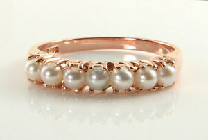 9K 9CT ROSE GOLD PEARL ETERNITY BAND ART DECO INS RING FREE RESIZE