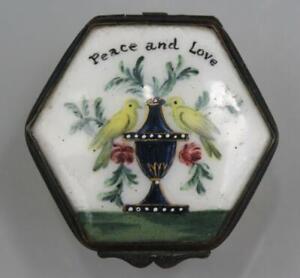 18C English George III Battersea Bilston Enamel Box 'Peace and Love' w/ Birds