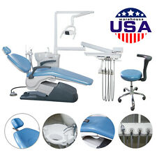 Dental Unit Chair Hard Leather Computer Controlled Dc Motor Amp Stool Fda Ce Blue