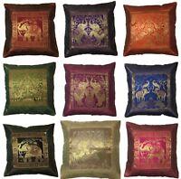"""Indian Patchwork Mandala Sari ethnic Silk Banarsi Cushion Covers Elephant 17"""" UK"""