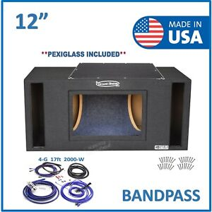 "12"" Dual Vented Slot Ported Bandpass Sub Box Subwoofer Enclosure + Amp Kit"