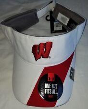 the best attitude 613de 879d9  1230 Under Armour Sun Visor Wisconsin Badgers Men White Red Adjustable Hat -NWT