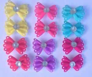Pair of Dog Hair Bows With Diamante Center on Small Alligator Clips